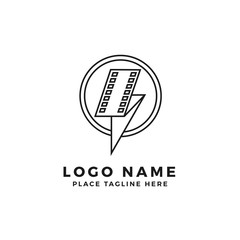 lightning film strip with circle ring frame logo brand. folded thunderbolt movie illustration. simple outline style symbol
