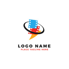 stack of colorful lightning film strip with circle planet logo brand. thunderbolt movie illustration.