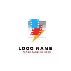 stack of colorful lightning film strip with line stripe logo brand. thunderbolt movie illustration.