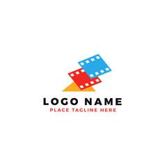 stack of colorful lightning film strip logo brand. thunderbolt movie illustration.