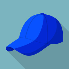 Blue baseball cap icon. Flat illustration of blue baseball cap vector icon for web design