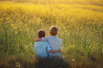 Two little boys friends holding around the shoulders in sunny summer day. Brother love. Concept friendship. Rear view.