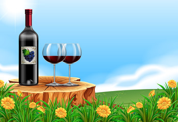 Red Wine in Nature Scene