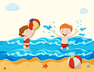 Boy and Girl Playing at the Beach