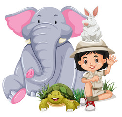 A Safari Girl With Happy Animal