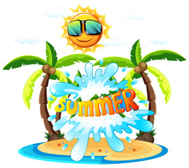 A Summer Sign on White Background