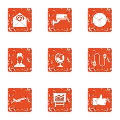 Watch over icons set. Grunge set of 9 watch over vector icons for web isolated on white background