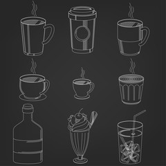 Coffee Drinks cup in hand drawing Style