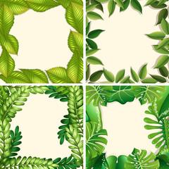 A Set of Green Leaf Border