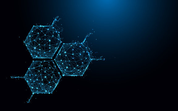 Molecule structure icon form lines and triangles, point connecting network on blue background. Illustration vector