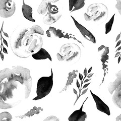 Watercolor Floral Repeat Pattern. Can be used as a Print for Fabric, Background for Wedding Invitation