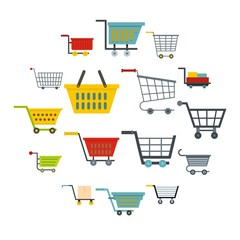Shopping cart icons set in flat style isolated vector illustration