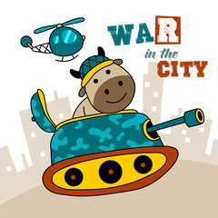 war in the city. funny illustration for book cover and children clothes