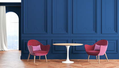 Empty room modern classic interior with blue, indigo walls, red, burgundy armchairs, table, curtain and window.