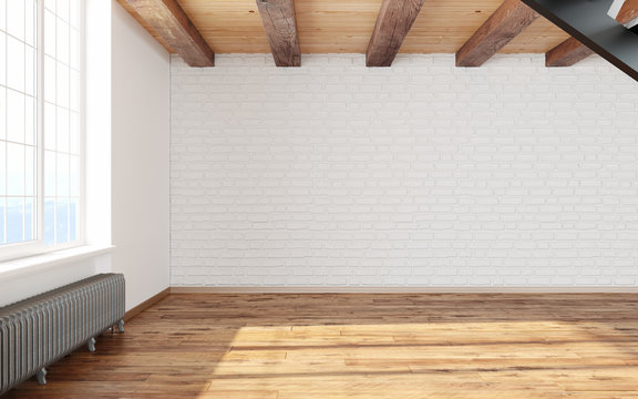 Empty room loft interior with big window white walls, bricks, wooden beams and floor.