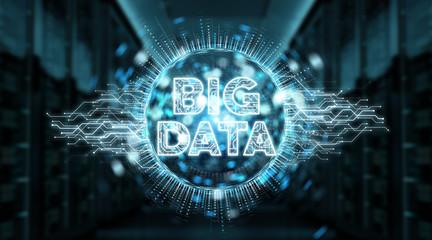 Big Data digital hologram background 3D rendering