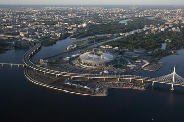 An aerial view shows the Saint Petersburg Stadium in St. Petersburg