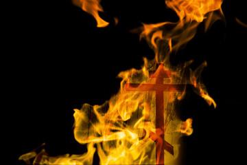 Fire cross in black background