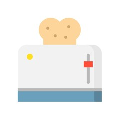 Toaster and toast bread icon, kitchen appliance vector