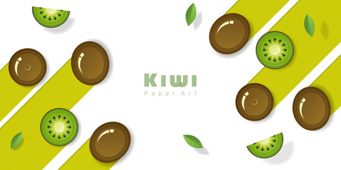 Fresh kiwi fruit background in paper art style , vector , illustration