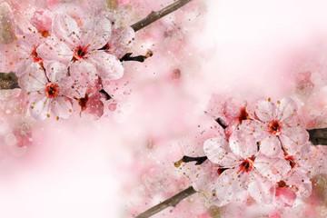 Watercolor spring flower painting
