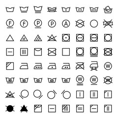 Laundry vector icons set in line style.