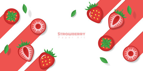 Fresh strawberry fruit background in paper art style , vector , illustration