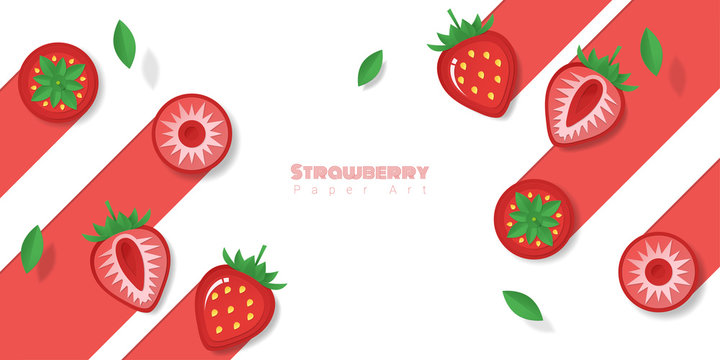 Fresh strawberry fruit background in paper art style , vector , illustration