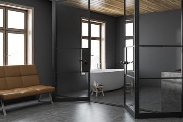 Stylish dark bathroom corner, bench