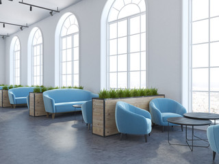Eco style cafe interior, cyan armchairs and sofas