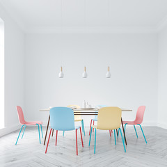 Bright chairs dining room interior