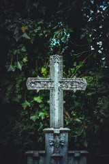 Old, ornate cross-shaped tombstone among green leaves in a cemetery. Catholic, christian religion concept.