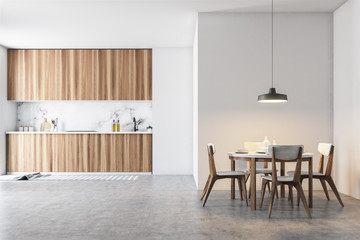 Wooden and gray dining room and kitchen
