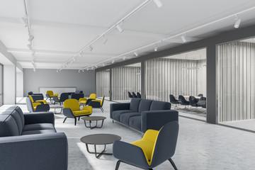 Luxury office corridor, gray meeting room