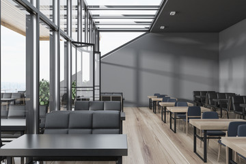 Gray wall glass roof cafe interior
