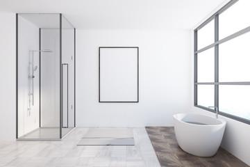 Asian style bathroom interior, poster