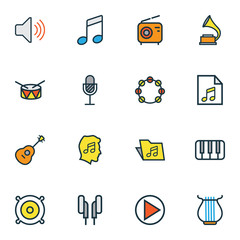 Audio icons colored line set with earphones, folder, music level and other gramophone  elements. Isolated  illustration audio icons.