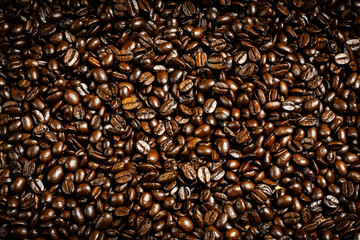 Texture of roasted ready to drink coffee close-up