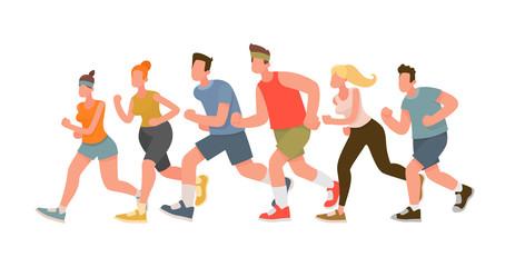 Running people. Marathon. Vector illustration