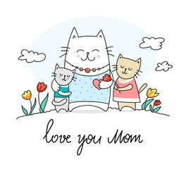Happy cat mother and her kids. Love you mom flat vector animal illustration
