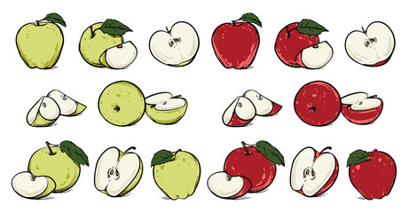 Red and Green Apples with Green Leaves and Apple Slice, Vector Illustration