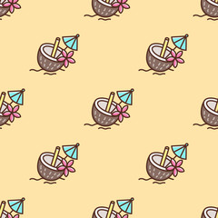 Tropical seamless pattern with cocktail in a coconut, with an umbrella and straw, decorated frangipani flower. It can be used for packaging, wrapping paper, textile and etc.