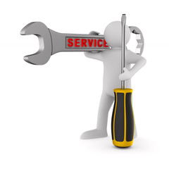 man with spanner and screwdriver on white background. Isolated 3D illustration