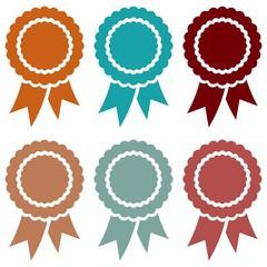 Emblem vektor set in gedeckten farben auf einem isolierten weisen hintergrund.