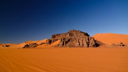 sunset view to Tin Merzouga dune at Tassili nAjjer national park, Algeria
