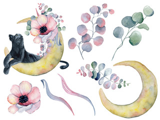 Black panther, flowers bouquet and moon phases watercolor illustration