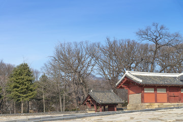 Jongmyo Shrine is a confucian shrine and the spirit tablets of kings and queens of ancient Korean (UNESCO World Heritage Site) with winner blue sky background, in Seoul, South Korea.
