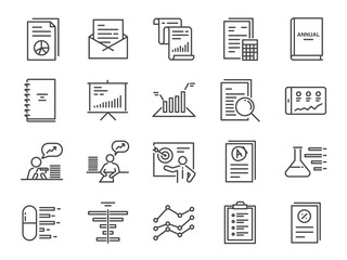 Report icon set. Included the icons as financial report, tax document, lab test, balance sheet, graph, analytic, analysis and more. Wall mural