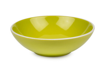 Green ceramic bowl isolated on white background