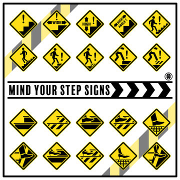 Set of safety caution signs and symbols for prevent slips, trips and falls accident, Mind your step safety signs use for reduce the risk of slips, trips and falls injuries in the workplace.
